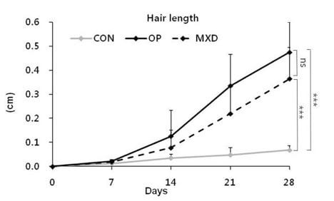 גרף ממחקר של השפעת שמן זית על נשירת שיער