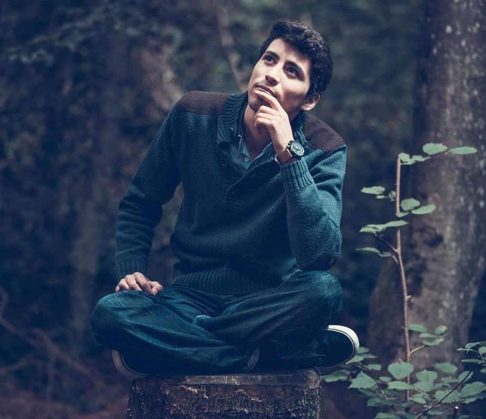 תמונה של גבר על בול עץ ביער מגיע למסקנות