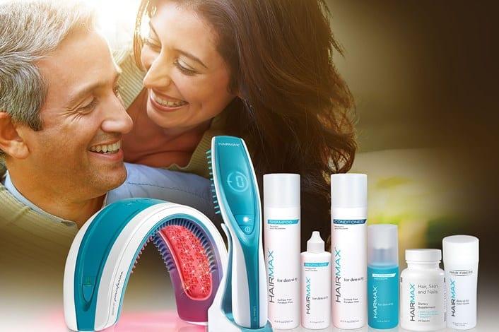 מוצרים של היירמקס על רקע של גבר ואישה מחייכים אחד לשני
